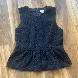 J.CREW Black Lace Peplum Top 6